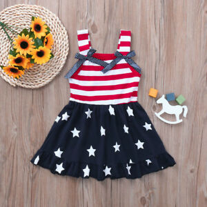 c97306c081bd4 Details about Summer Toddler Baby Girls Print 4th Of July Bowk Straps  Dresses Holiday Clothes