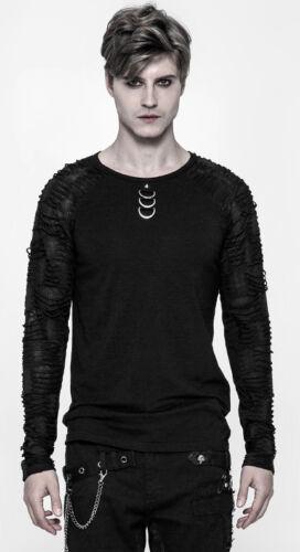Gothic Punk Destroy Grunge Top T-Shirt Ripped Metal Spike D-Ring PunkRave Men