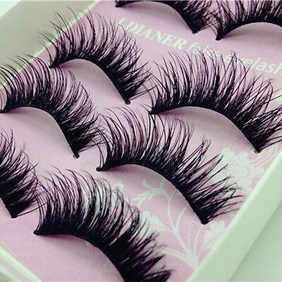 5Pairs Natural Long Black Eye Lashes Make-up Handmade Thick Fake False Eyelashes
