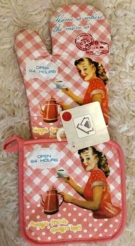 Vintage Shabby Chic Pink Girl Serving Coffee 24 Hours Oven Mitt /& Pot Holder Set