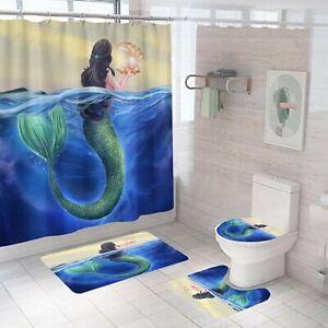 Mermaid Series Shower Curtain Set Bathroom Rug NonSlip Bath Mat Toilet Lid Cover