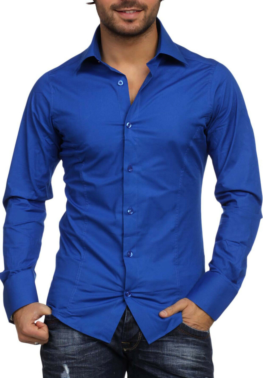 Blu Royal - Blue Men's Long Sleeved Shirt Fashion