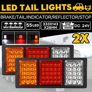 2x-24V-55-LED-Trailer-Lights-Tail-Light-Ute-Boat-Truck-Caravan-Indicator-Lamps