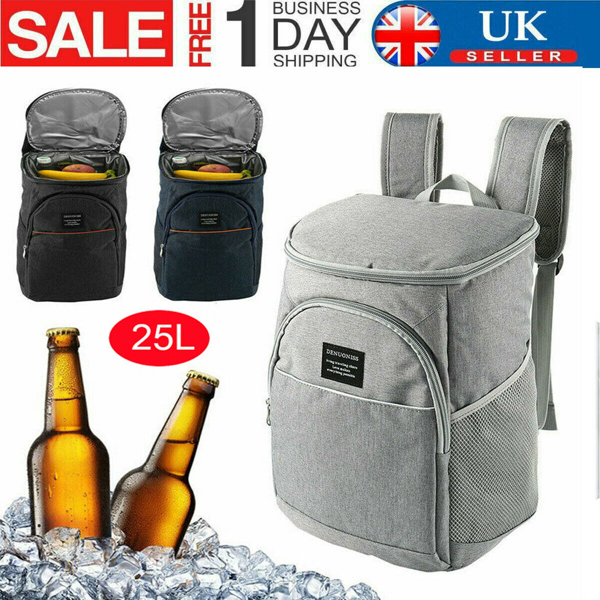 Beach Large Insulated Cool Bag for Picnic Leoh 25L Cooler Backpack /& Camping