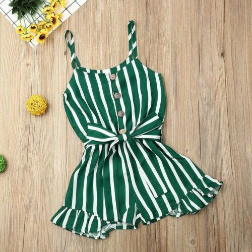 Toddler Kid Baby Girl Clothes Strap Stripe Romper Jumpsuit Summer Outfit Sunsuit