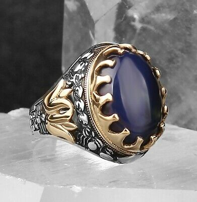 Turkish Jewelry 925 Sterling Silver Blue Sapphire  Mens  Ring ALL SİZE US 006