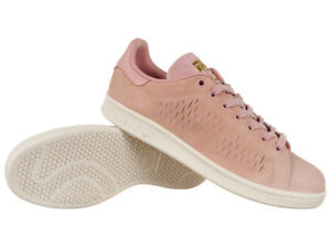 18ab0eb8fe Details about Women adidas Originals Stan Smith Shoes Trainers Pink Leather  Suede Shoes