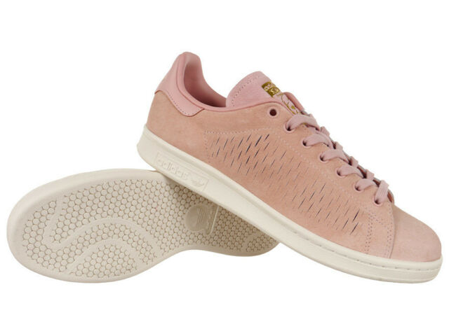premium selection ba486 8ed6a Women adidas Originals Stan Smith Shoes Trainers Pink Leather Suede Shoes