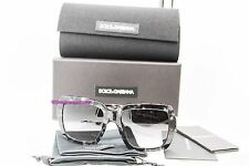 DOLCE & GABBANA DG 4273 2933-8G Gray Flowers Grad Square Sunglasses NWT AUTH