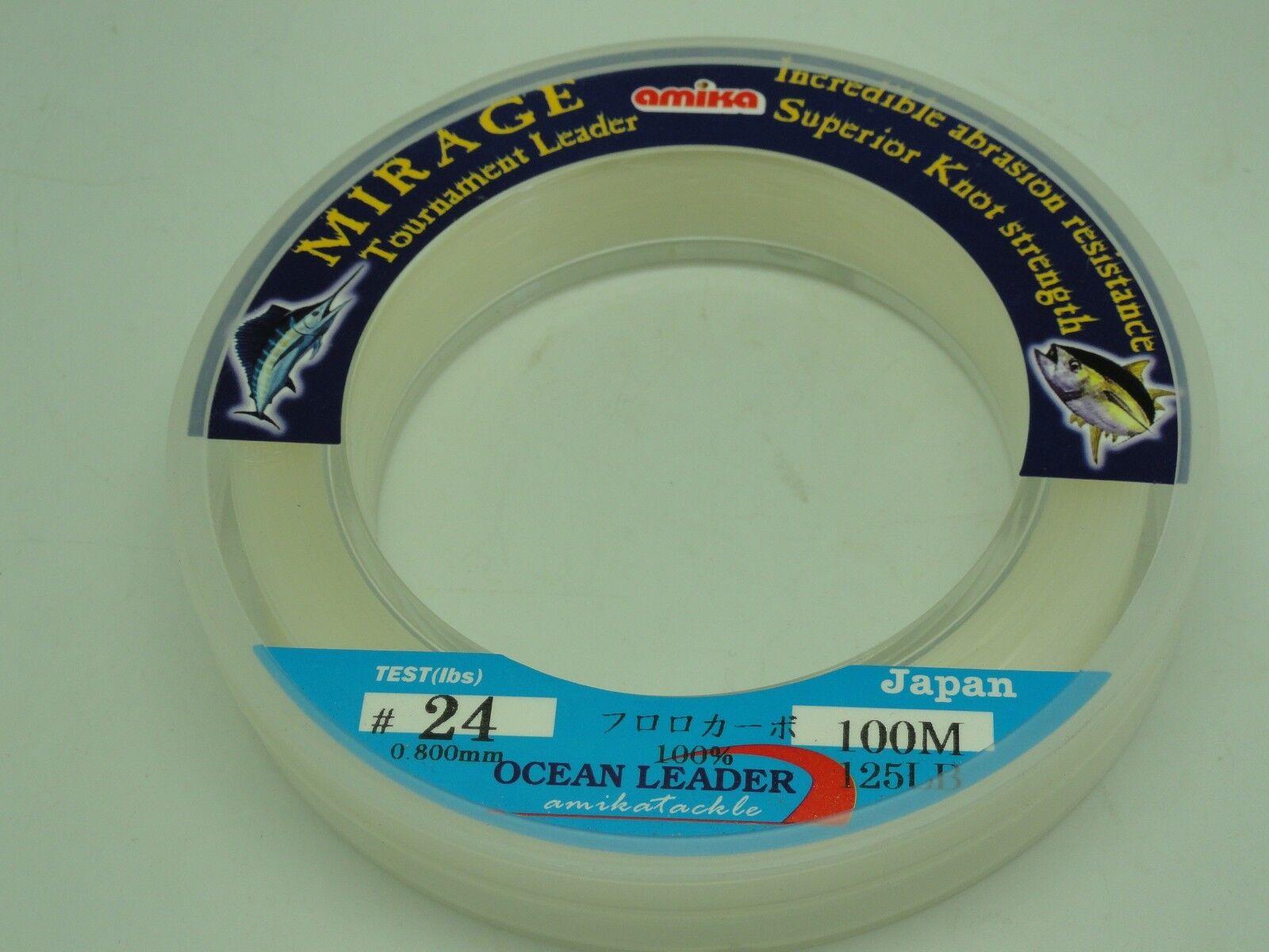Amika Mirage FluGoldcarbon Leader Japan  24 U.S 90 90 90 125lb 110yd Jigging BG Fishing 5a7458