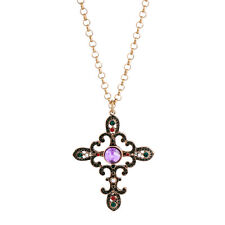 Collier Long Doré Pendantif Croix Art Deco Multicolore Violet Fin Baroque DDZ2