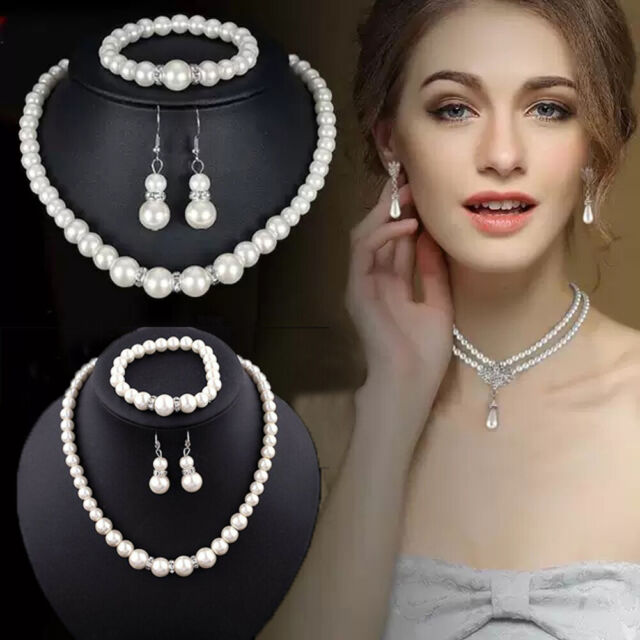 Fashion Real Natural Freshwater Pearl Necklace Bracelet Earrings Jewelry Set