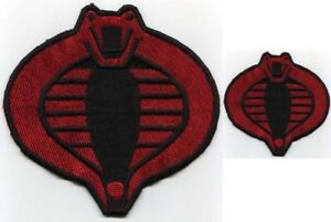 GI-Joe-Cobra-Commander-Embroidered-Red-amp-Black-6-034-amp-3-034-Cobra-Iron-On-Patch-Set