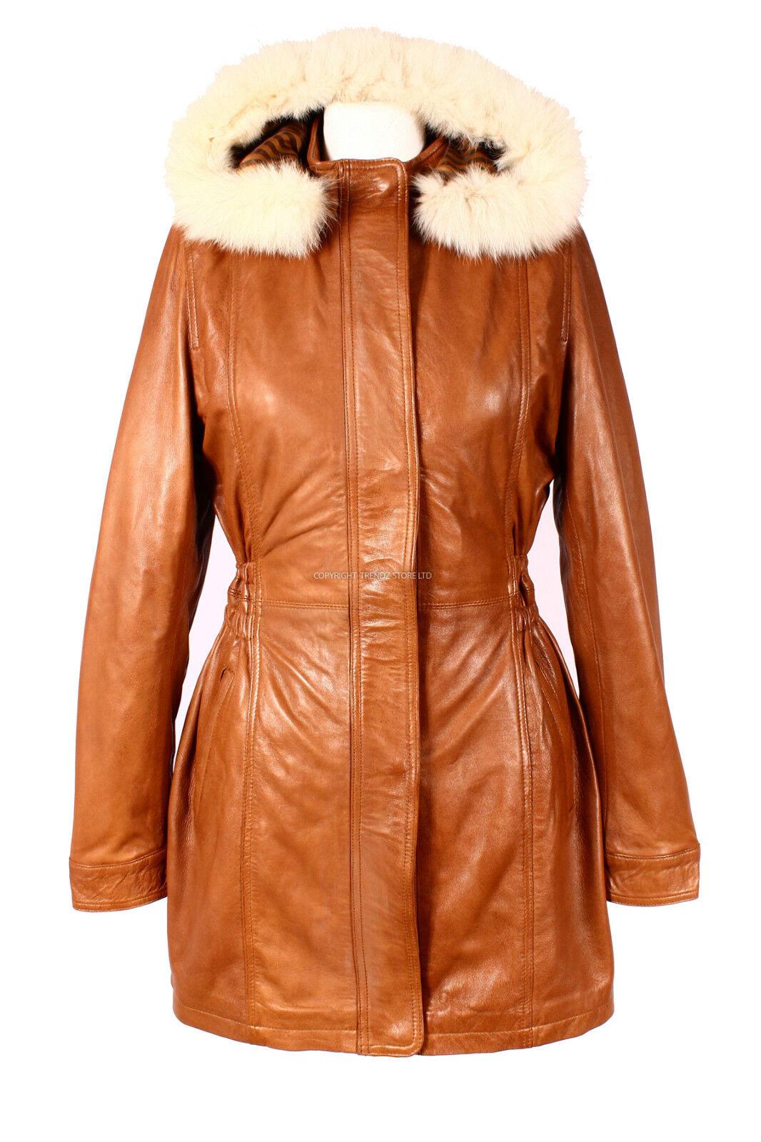 ALANA Tan Ladies New Fur Hooded Knee Length Real Lambskin Designer Leather Coat
