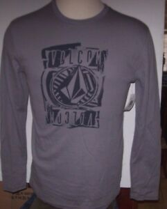 NEW-Volcom-thermal-long-sleeve-shirt-gray-black-sz-Medium-or-Large-or-XL