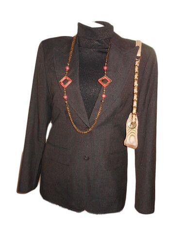 Blazer Brown Y23 Jakke Skræddersyet Kvinders 12 Sz Forretning M Vtg Versace Formelle q1waS0xE