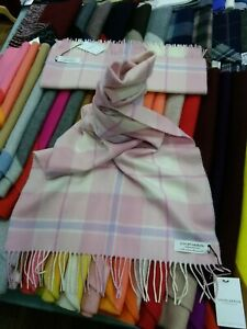 100% Lambswool Wide Scarf | Lochcarron | Made in Scotland | Pink White Stole