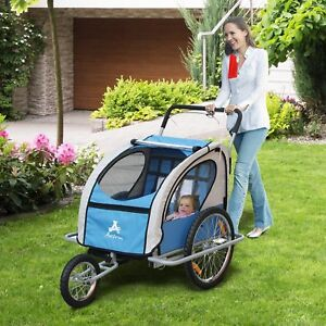 2-IN-1-Double-Baby-Child-Bike-Trailer-Folding-Stroller-Jogger-Blue