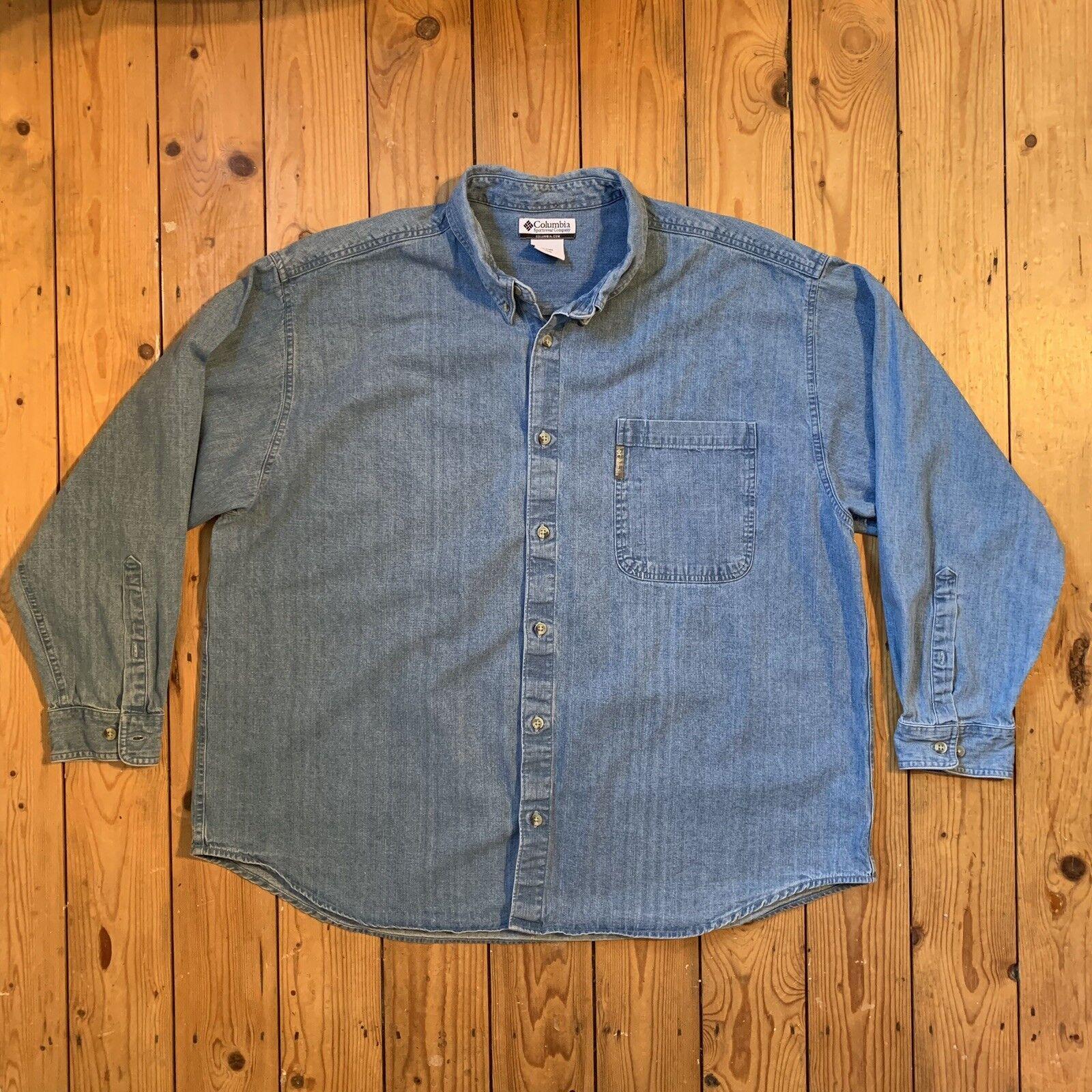 Columbia Mens Size 3XL Vintage Long Sleeve Denim Shirt