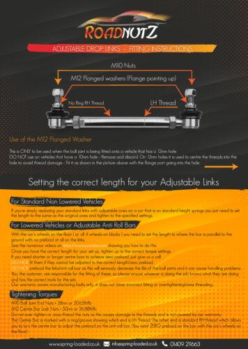 Roadnutz DELANTERO ADJ insertes vínculos para Citroen DS3 Cabrio 1.2-1.6 todos Racing 2013-On