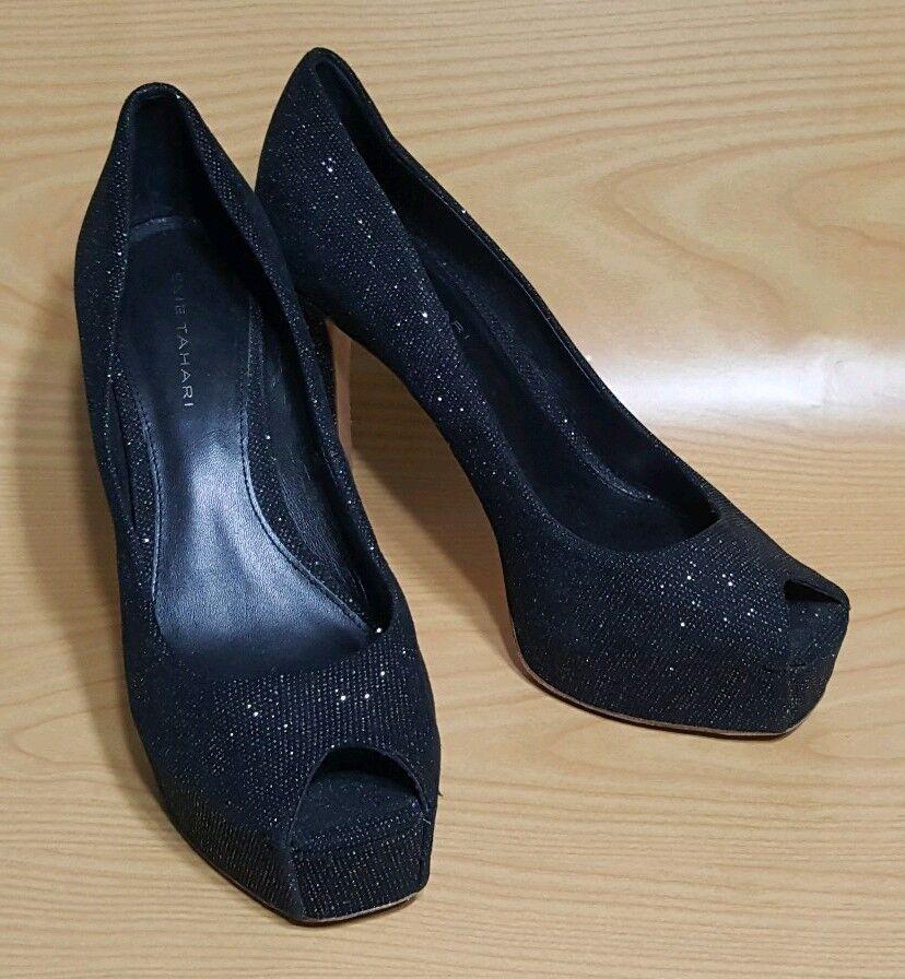 Elie Zapatos Tahari Negro Peep Toe Zapatos Elie De Tacón Plataforma Brillo Zapatos De Salón 8 38 a971aa