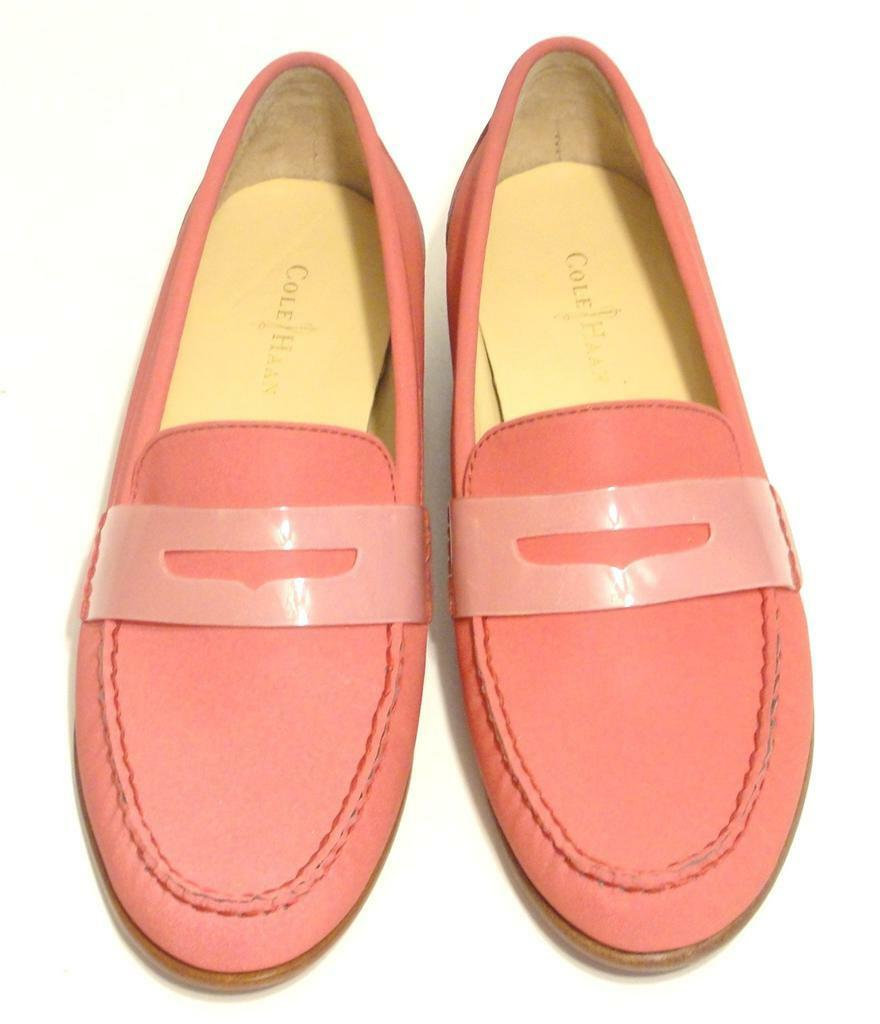 COLE HAAN~198~NWOB~BI-COLOR PINK~LEATHER *MONROE* PENNY LOAFER DRIVING SHOES~7