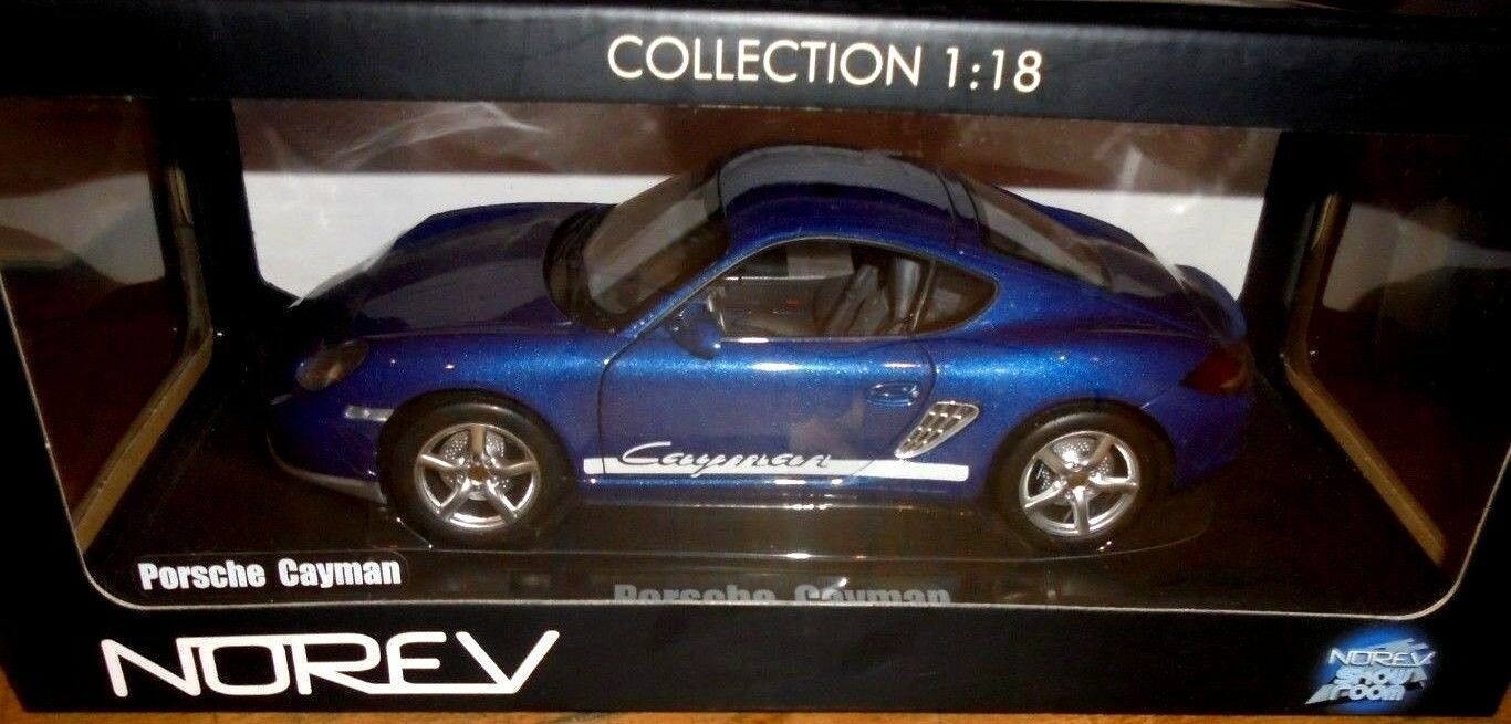 Car 1 18 NOREV 187602 PORSCHE CAYMAN 2009 MET bleu NEW BOX