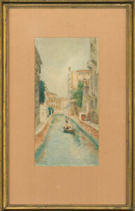 Fine-Early-20th-Century-Watercolour-Venice-Canal-Scene-with-Gondola