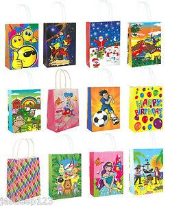 Regalo-Festa-a-Tema-sacchetti-di-carta-Maniglie-per-Bambini-Compleanno-Natale-shopping-10pk