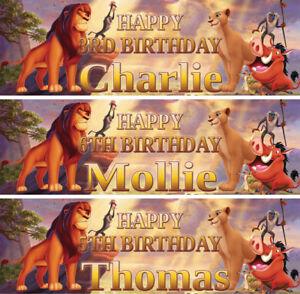 2-x-Banner-Personalizzato-Compleanno-Re-Leone-Lion-Guard-Animale-Bambini-Kids-Party