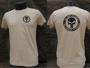 "Tshirt TAN / COYOTE "" PUNISHER - DIEU JUGERA NOS ENNEMIS "" us TAP t shirt"