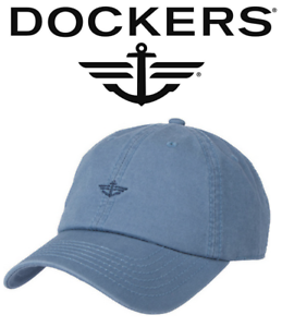 New Men s Dockers Washed Twill Baseball Cap Hat Blue One Size 100 ... 5b0a7271500