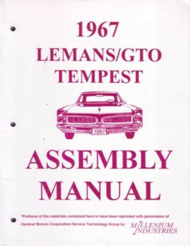 1967 Pontiac Tempest Assembly Manual Rebuild Instructions Illustrations Drawing