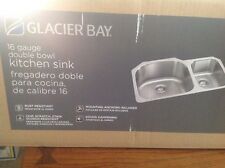 Glacier Bay Stainless Steel Double Bowl Undermount Kitchen Sink 16 Gauge  FD2038