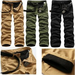 Mens Winter Cotton Fleece Lined Cargo Combat Work Pockets Long ...