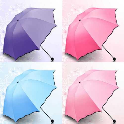 Womens Parasol Sun Rain Umbrella Water Flower Blossom Style AntiUV 3 Folding