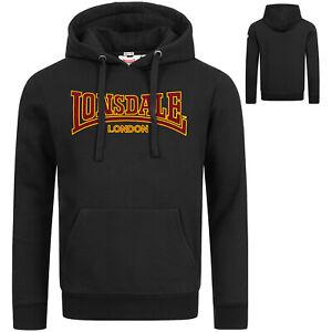 Lonsdale Black Hoodie Classic Flock Print Hooded Sweatshirt Slim-Fit Kapuze