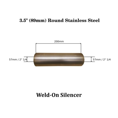 """2 /"""" 1//4 3.5 /""""X 8/"""" saldatura su Acciaio Inox Silenziatore di scarico di corpo 57mm Bore"""