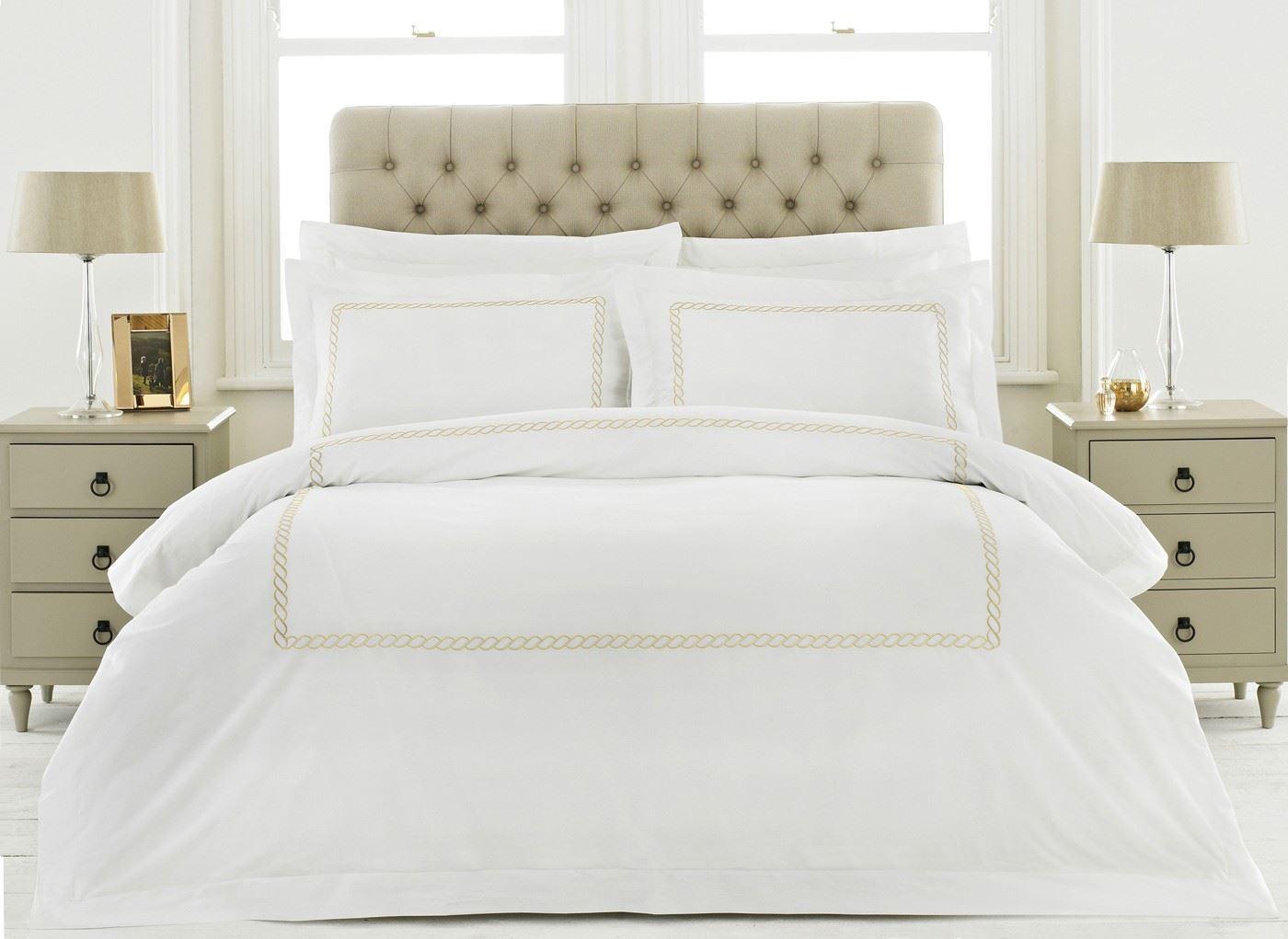 100% Cotton 200tc WeißGold Kette kingGröße-bettbezug