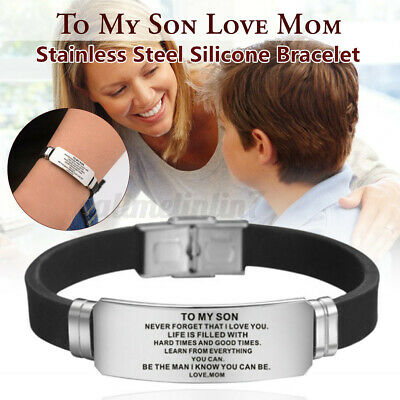 Inspirational Personalized To My Son Men Bracelet Love Dad Mom Father/'s Day Gift