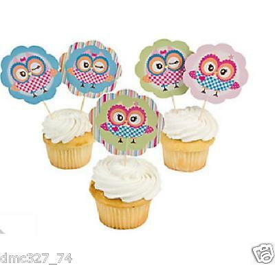 25 Birthday Party OWL YOU'RE A HOOT Food CUPCAKE Hors D'oeuvres LARGE PICKS 3""