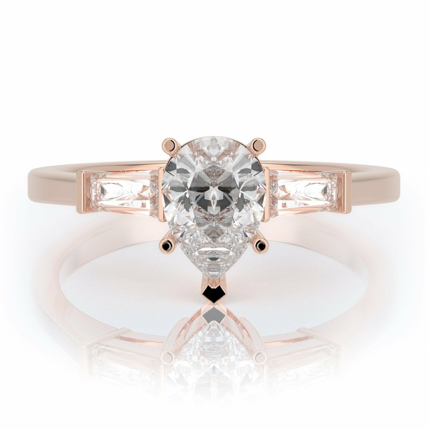 0.7 Ct Pear Natural Diamond 3-Stone Engagement Ring 14K pink gold