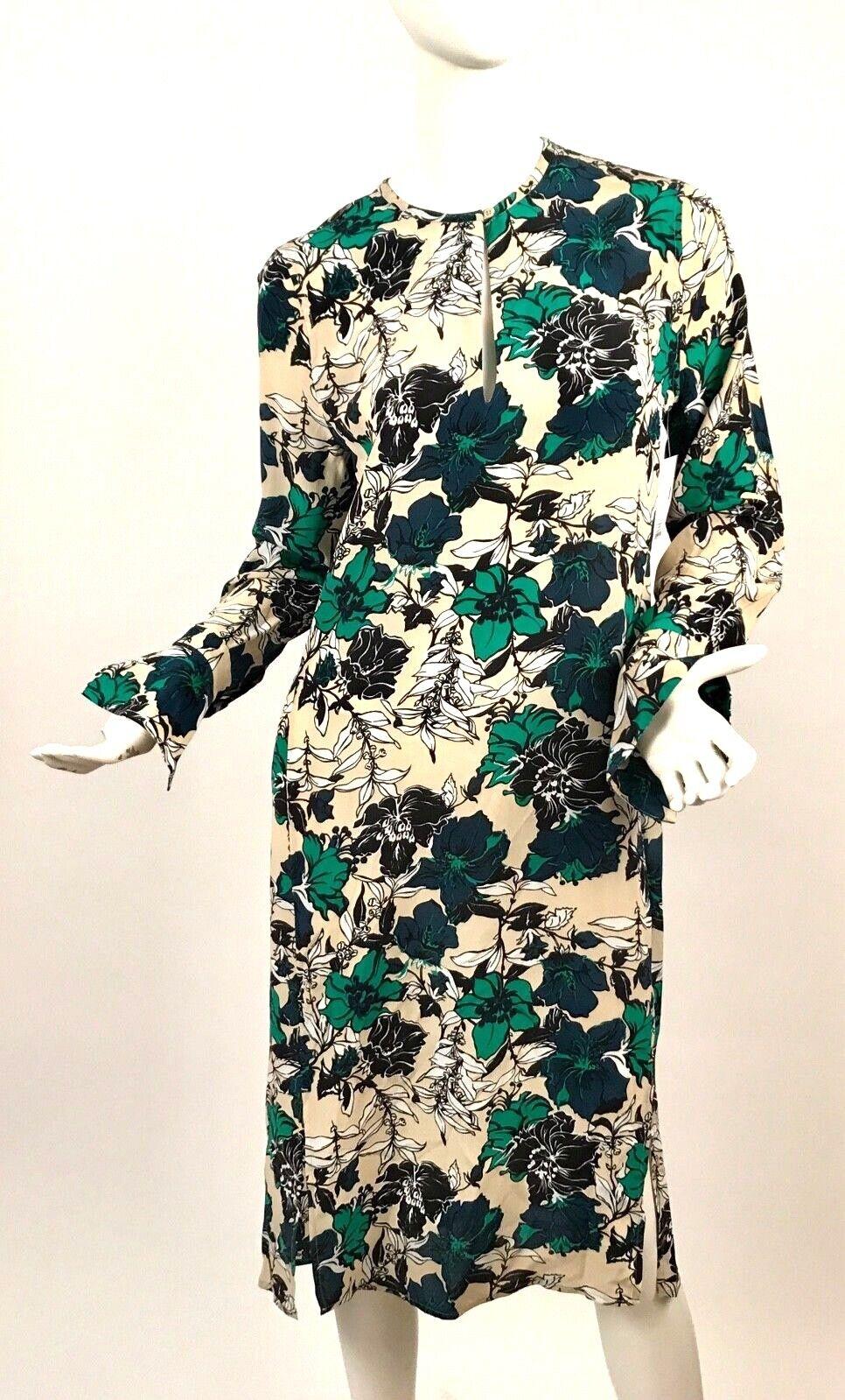 NWT Equipment Granger Silk Multicolor Knee Length Long Sleeve Floral Dress SZ S