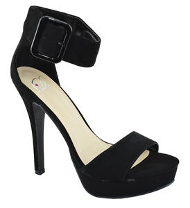 f97d012142 Image is loading Delicious-High-Heels-Women-Buckled-Strap-Platform-Open-