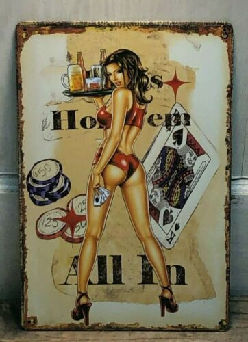 """/""""Texas Hold/'em All In/"""" 8/""""X 12/"""" METAL SIGN ~Girl Poker Garage Girl Pin up Cards"""