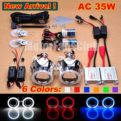 "New 2.5"" Bi-Xenon HID Projector Kit Lens Car Headlights Angel Eye Halo AC/35W"