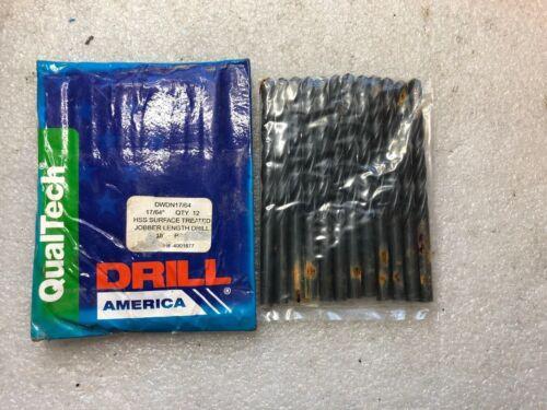 17//64 HSS Black Oxide Jobber Length Drill Bit Pack of 12 Drill America