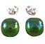 Glass-Earrings-Emerald-Green-Iridescent-Metallic-Teal-Green-Post-1-4-034-8mm-STUDS thumbnail 2