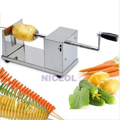 Manual Stainless Steel Batata Potato Twisted Spiral Slicer French Fry Cutter New