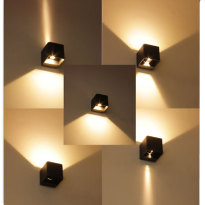 7w Modern Wall Light Up Down Cube Indoor Outdoor Led Sconce Lighting Lamp Ip65 Ebay